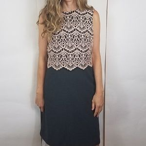 Halogen pink crochet lace gray sheath dress
